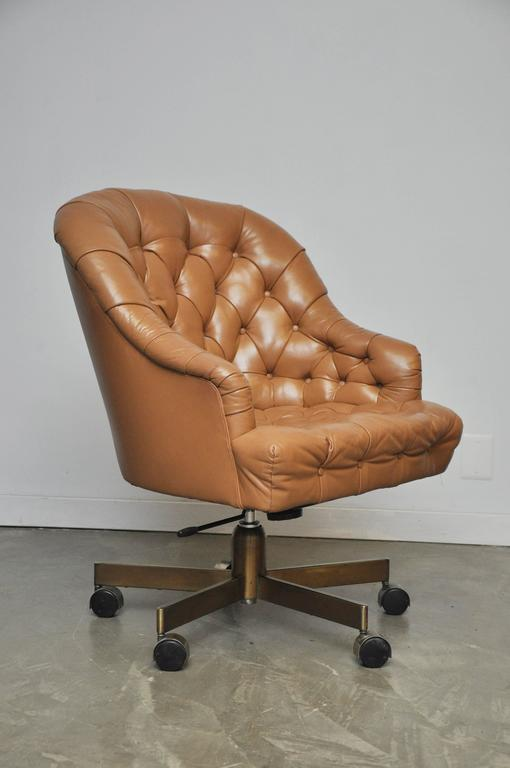 tufted leather executive office chair western office classic leather chesterfield tufted executive office chair by edward wormey for dunbar original tan incredible dunbar tufted leather desk chair on bronze base