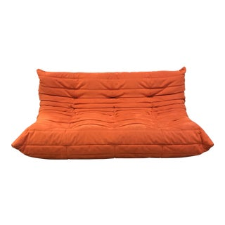 Orange Ligne Roset Vintage Togo Sectional 3 Seat Couch
