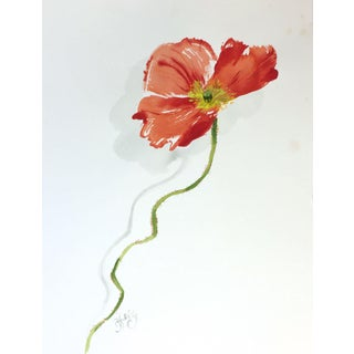 Crimson Poppy Study Painting by Gretchen Kelly For Sale