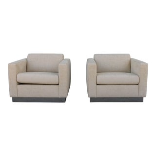 Milo Baughman Style Lounge Chairs - a Pair