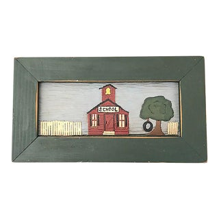 Hand-Carved & Painted Schoolhouse Art For Sale