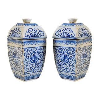 Chinese 19th Century Blue & White Urns - A Pair For Sale