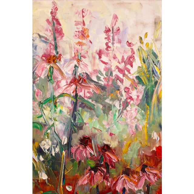 """Large Impressionist Botanical Framed Original Oil Painting, """"Fire Candle"""" by Geraldine Harty For Sale - Image 10 of 13"""