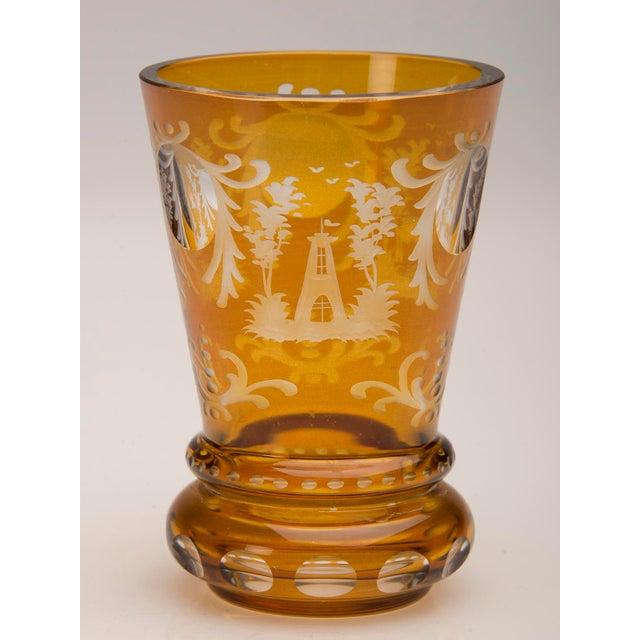 Vintage English Bohemian Cut Glass Amber Vase circa 1950 - Image 7 of 7