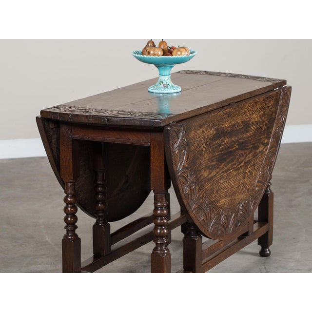 Brown Antique English Oak Drop Leaf Table circa 1885 For Sale - Image 8 of 11