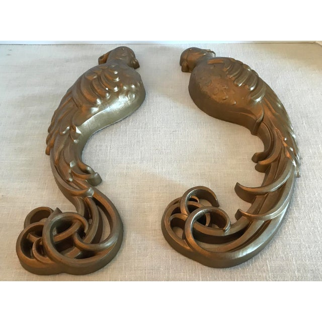 Mid-Century Modern Mid-Century Modern Gold Bird Wall Hangings - a Pair For Sale - Image 3 of 11