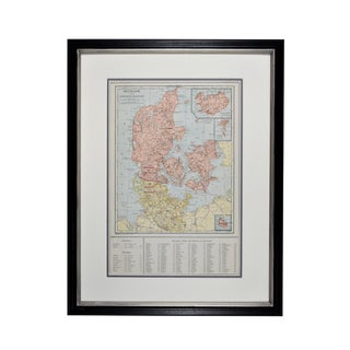 1920s Original Vintage Denmark Map, Framed For Sale