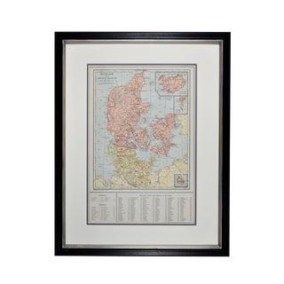 1920s Vintage Framed Denmark Map For Sale