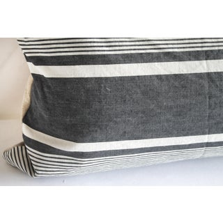 Antique French Ticking Stripe Lumbar Pillow Faded Black and White Preview