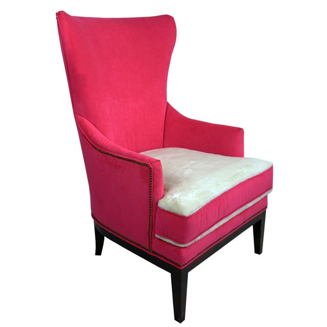 Metal BiltWell Showroom Hot Pink Faux Fur Wing Chair For Sale - Image 7 of 8