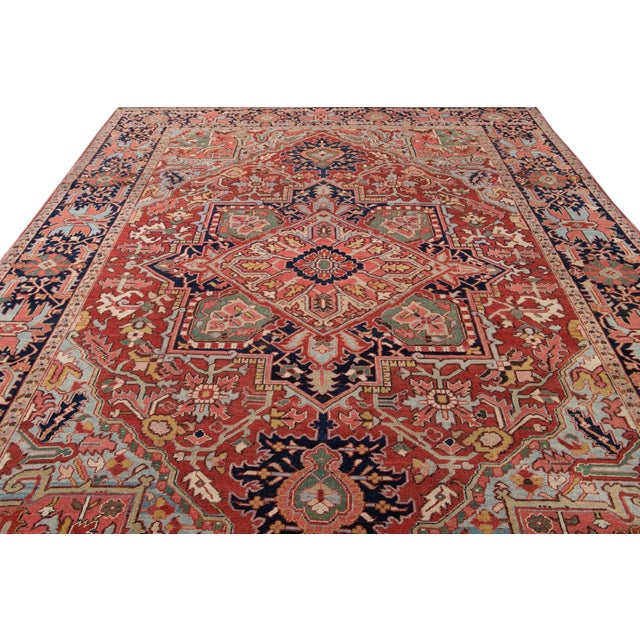 Early 20th Century Antique Persian Heriz Wool Rug For Sale - Image 10 of 13
