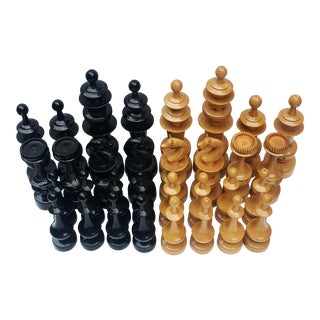 Mid-Century Large Eurasian Carved Wood Chess Pieces - 32 Pc. Set For Sale
