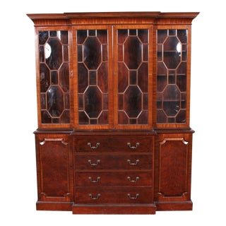 Vintage Mahogany English Georgian Style Bubble Glass Breakfront Bookcase Cabinet For Sale