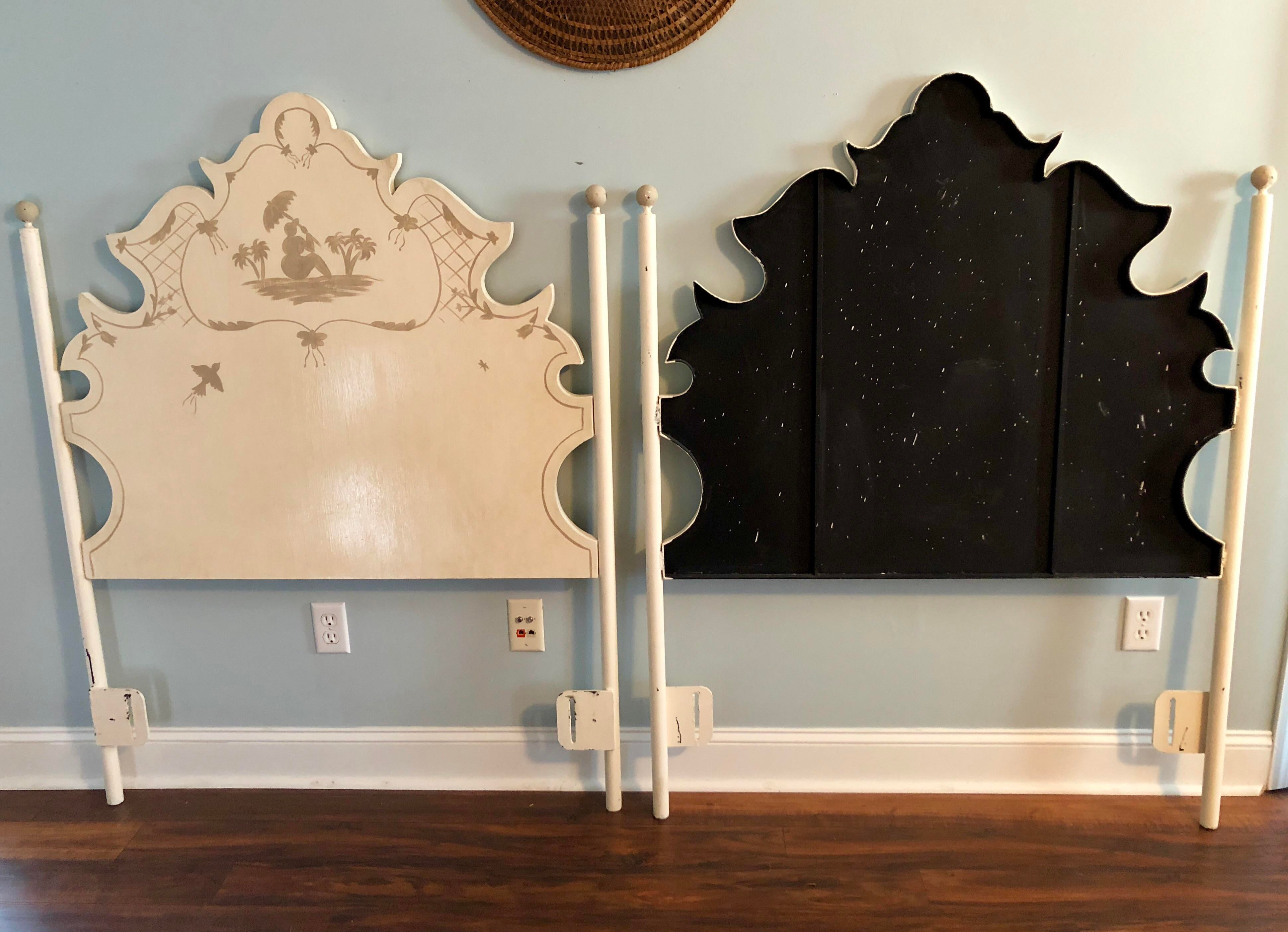 Jane Keltner For Brighton Pavilion Hand Painted Pagoda Tole Twin Headboards    A Pair   Good Ideas