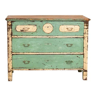 Antique Seafoam Blue Painted Chest of Drawers For Sale