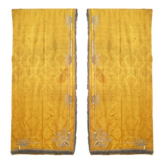 Gold Damask Silk and Fringe Drapes For Sale