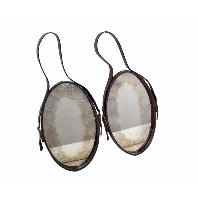 Jacques Adnet Style 1950s Hand-Crafted Brown Leather & Antique Glass Wall Mirror - a Pair For Sale - Image 11 of 13