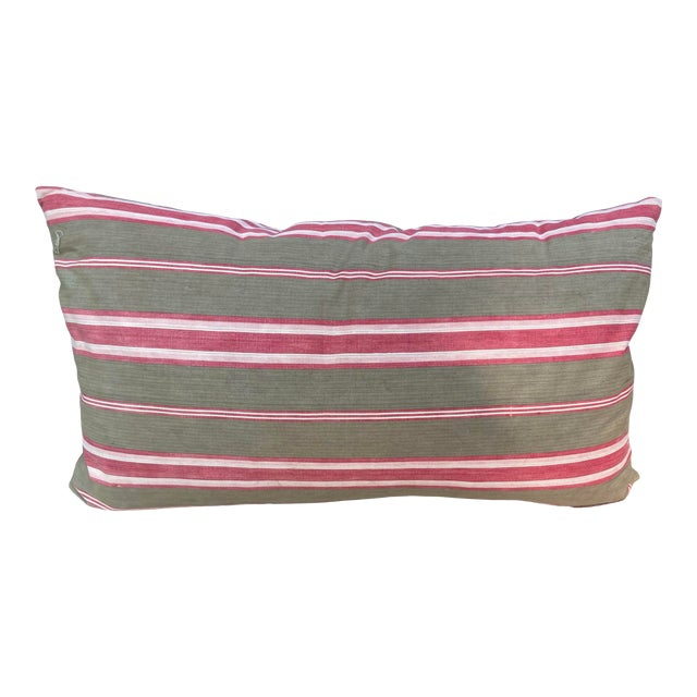 Antique French Red & Brown Ticking Stripe Fabric Pillow For Sale