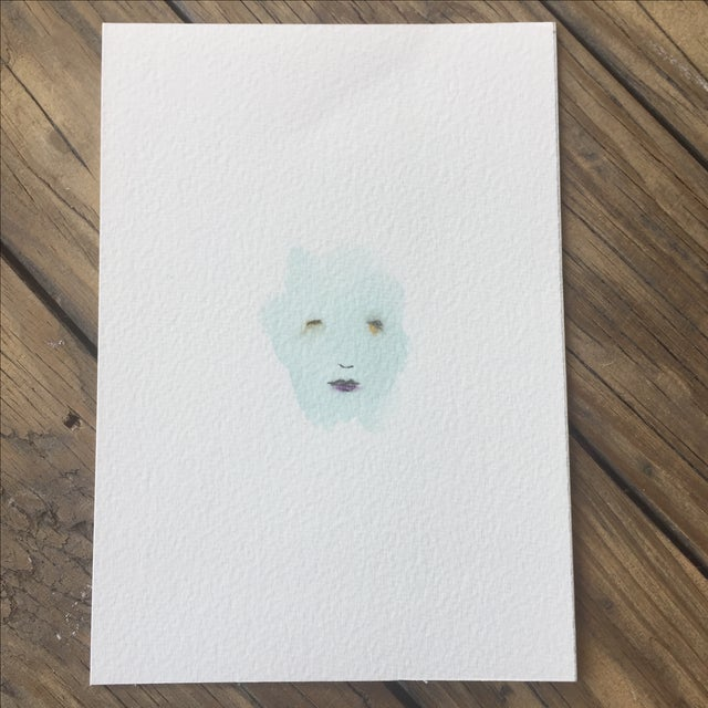 """Minimal Face 006"" Mixed Media Painting - Image 2 of 5"