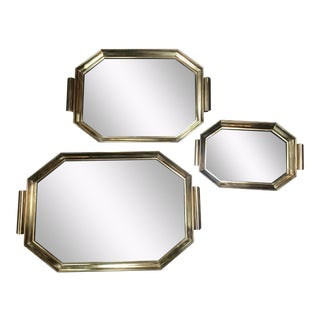 1950s Vintage Italian Octagonal Brass and Smoked Glass Trays - Set of 3