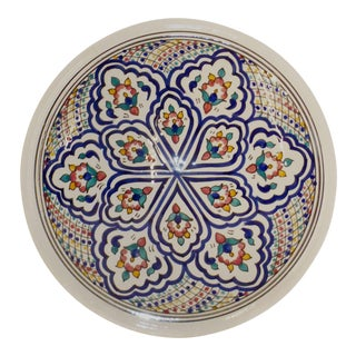 Hand Painted Moroccan Painted Ceramic Plate For Sale