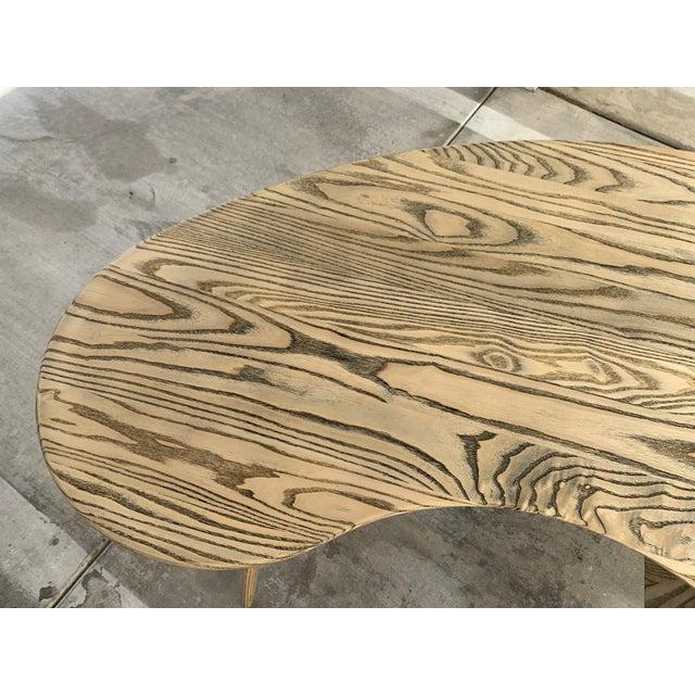 Kidney Biomorphic Shaped Oak Desk For Sale - Image 9 of 13