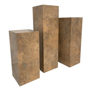 Mid-Century Modern Faux Stone Pedestals - Set of 3 For Sale