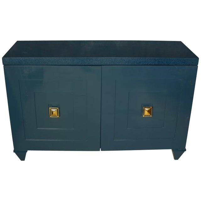 Mid 20th Century Modern Navy Lacquered Wood Serving Cabinet with Brass Knobs For Sale - Image 5 of 5