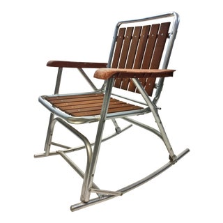Vintage Redwood & Aluminum Folding Rocking Chair