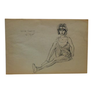 "1965 Vintage ""Janine Guerry"" Tom Sturges Jr. Original Drawing For Sale"