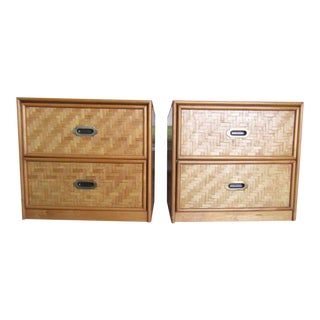 Vintage Woven & Brass Night Stands - a Pair