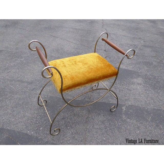 Vintage Hollywood Regency Gold Velvet Vanity Chair - Image 2 of 10