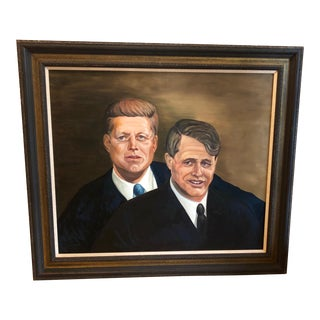 1960s Americana Oil Painting of John and Robert Kennedy For Sale