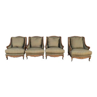 Henredon Hand-Carved Bergère Style Lounge Chairs - Set of 4 For Sale