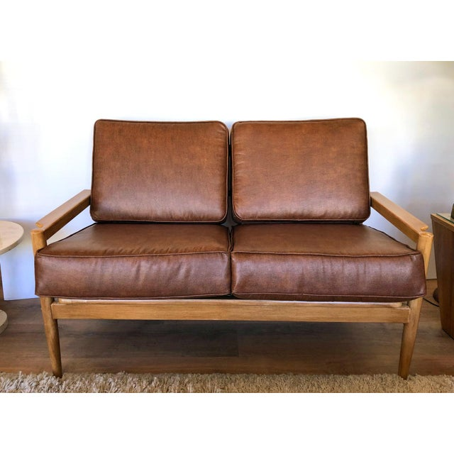 1960s Mid-Century Upholstered Borge Jensen Danish Leather Love Seat For Sale - Image 5 of 5