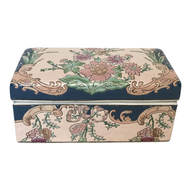 Chinese Hand-Painted Porcelain Lotus Box For Sale