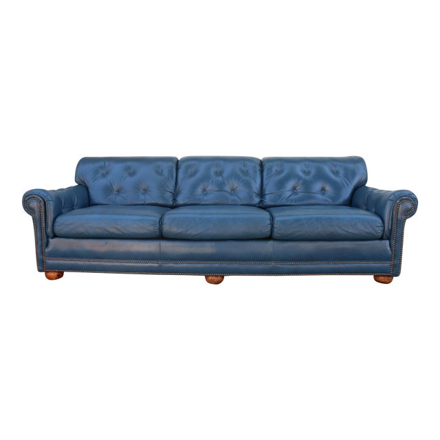 Teal Leather Sofa - Image 1 of 11