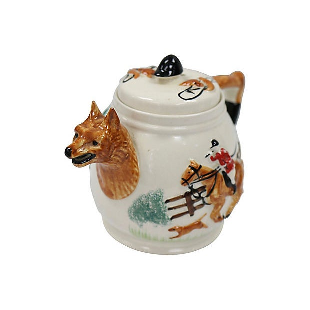 Early 20th Century Vintage English Fox Hunting Scene Tea Pot For Sale - Image 5 of 6