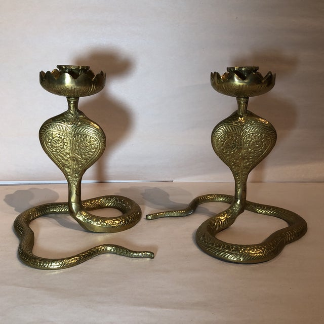 Gold Brass King Cobra Candle Holders - a Pair For Sale - Image 8 of 11