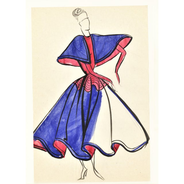 Fabulous and chic! This is a pair of original French fashion drawings from the late 1940s. They are ink and watercolor...