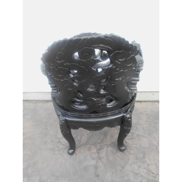 20th Century Chinese Wood Carved Dragon Throne Armchair For Sale - Image 6 of 10