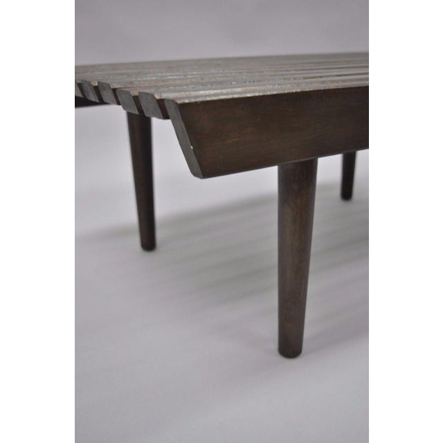 Wood Vintage Mid Century Modern Solid Wood Slat Bench For Sale - Image 7 of 10