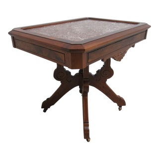 Late 19th Century Antique Victorian Marble Top Carved Lamp End Table For Sale