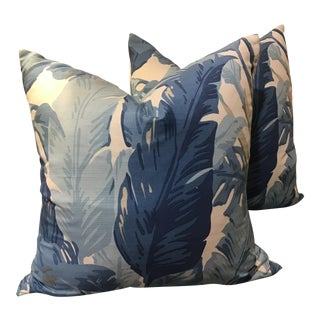 "Thibaut ""Travelers Palm"" in Blue and White 22"" with Down Inserts - a Pair For Sale"