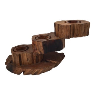 Three Tiered Wooden Candle Holder For Sale