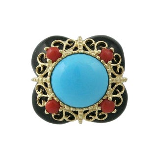 14k Gold Persian Turquoise Onyx & Coral Ring For Sale