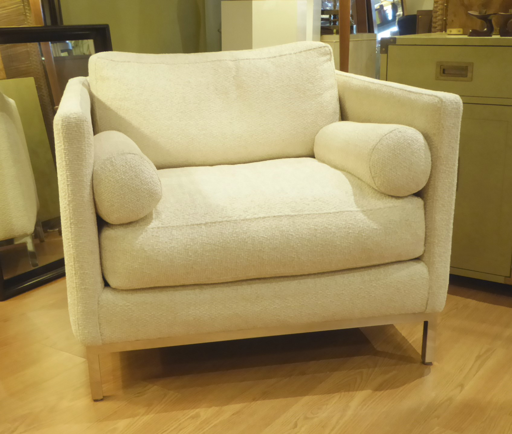 Modern Plush Armchair By ICF 1960s For Sale   Image 9 Of 9