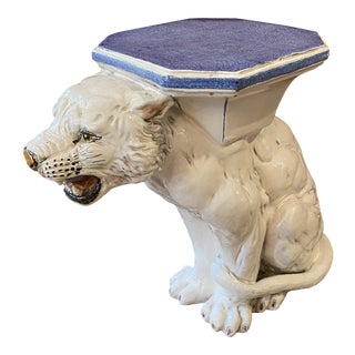 Italian Ceramic Tiger Blue and White Garden Stool For Sale