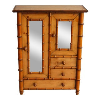 Diminutive Faux Bamboo Armoire For Sale