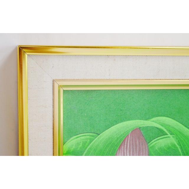 Large Art Deco Textile Art Painting Professionally Framed - Image 8 of 11
